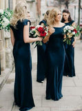 Cap Sleeve Mermaid Dark Teal Cheap Bridesmaid Dresses Online, WG266