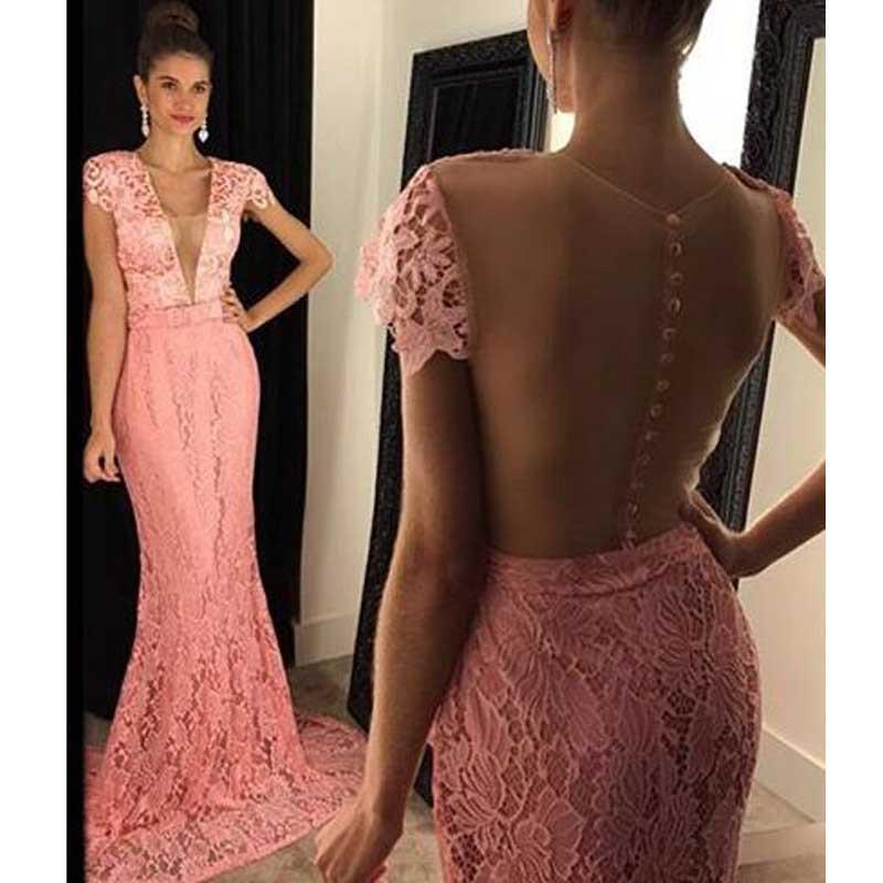 Cap Sleeve Peach Lace Mermaid Evening Prom Dresses, 2017 Sexy See Through Prom Dress, Custom Long Prom Dress, Cheap Party Prom Dress, Formal Prom Dress, 17039