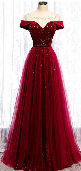 Cap Sleeve Red Sparkly Tulle Long Cheap Evening Prom Dresses, Evening Party Prom Dresses, 12329