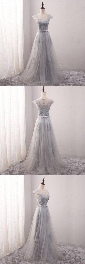 Cap Sleeve Scoop Neckline Gray Lace Evening Prom Dresses, Popular Lace Party Prom Dresses, Custom Long Prom Dresses, Cheap Formal Prom Dresses, 17185