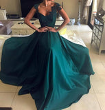 Cap Sleeve Sleeves Emerald Green Evening Prom Dresses, Cheap Sweet 16 Dresses, 18307