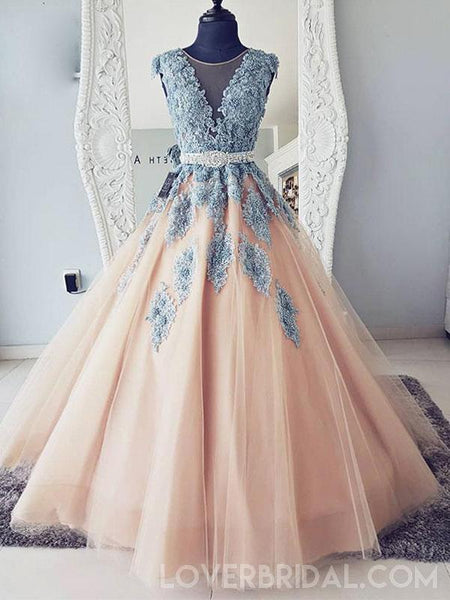 Cap Sleeves Blue Lace Ball Gown Long Evening Prom Dresses, Cheap Sweet 16 Dresses, 18417