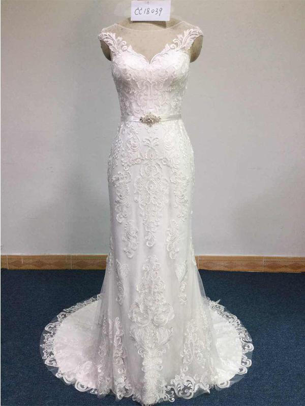 Cap Sleeves Lace Mermaid Wedding Dresses Online, Cheap Wedding Gown, WD678