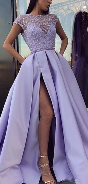 Cap Sleeves Lilac See Through A-line Long Evening Prom Dresses, Evening Party Prom Dresses, 12298