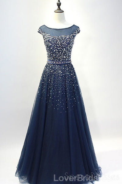 Cap Sleeves Navy Tulle Beaded Long Evening Prom Dresses, Cheap Custom Party Prom Dresses, 18586