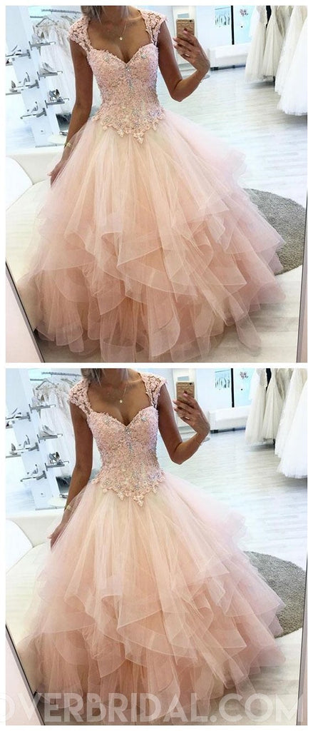 Cap Sleeves Peach Ball Gown Lace Beaded Long Evening Prom Dresses, Cheap Sweet 16 Dresses, 18431
