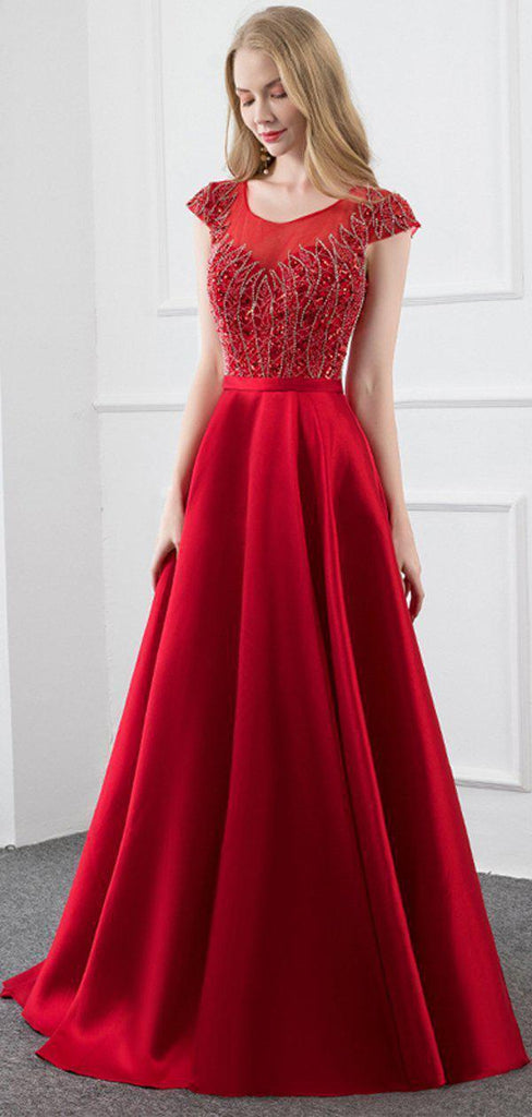 Cap Sleeves Red Beaded Long Evening Prom Dresses, Evening Party Prom Dresses, 12291
