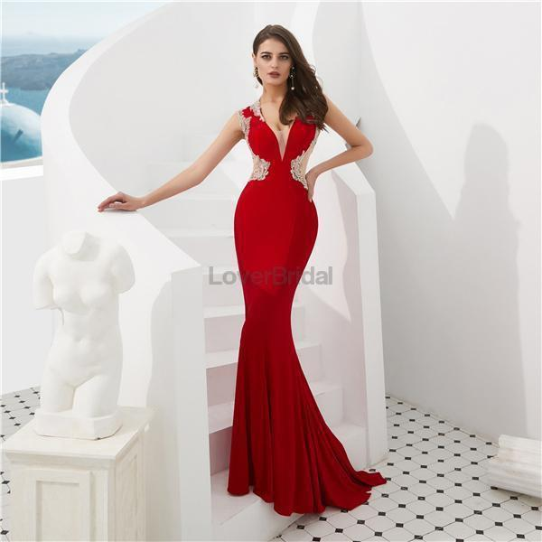 Cap Sleeves Red Beaded Mermaid See Through Evening Prom Dresses, Evening Party Prom Dresses, 12087