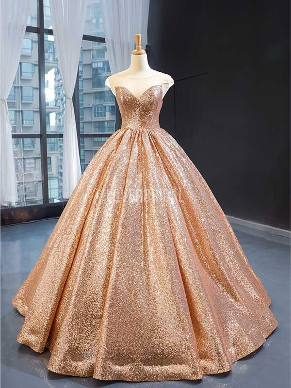 Cap Sleeves Rose Gold Sequin Evening Prom Dresses, Evening Party Prom Dresses, 12238