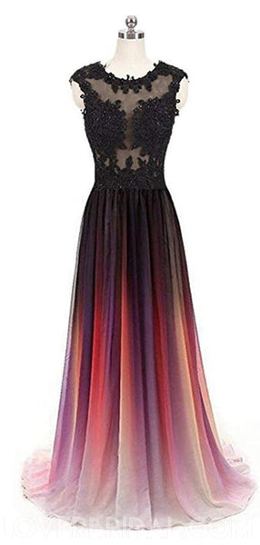 Cap Sleeves See Through Chiffon Ombre Long Evening Prom Dresses, Cheap Sweet 16 Dresses, 18397