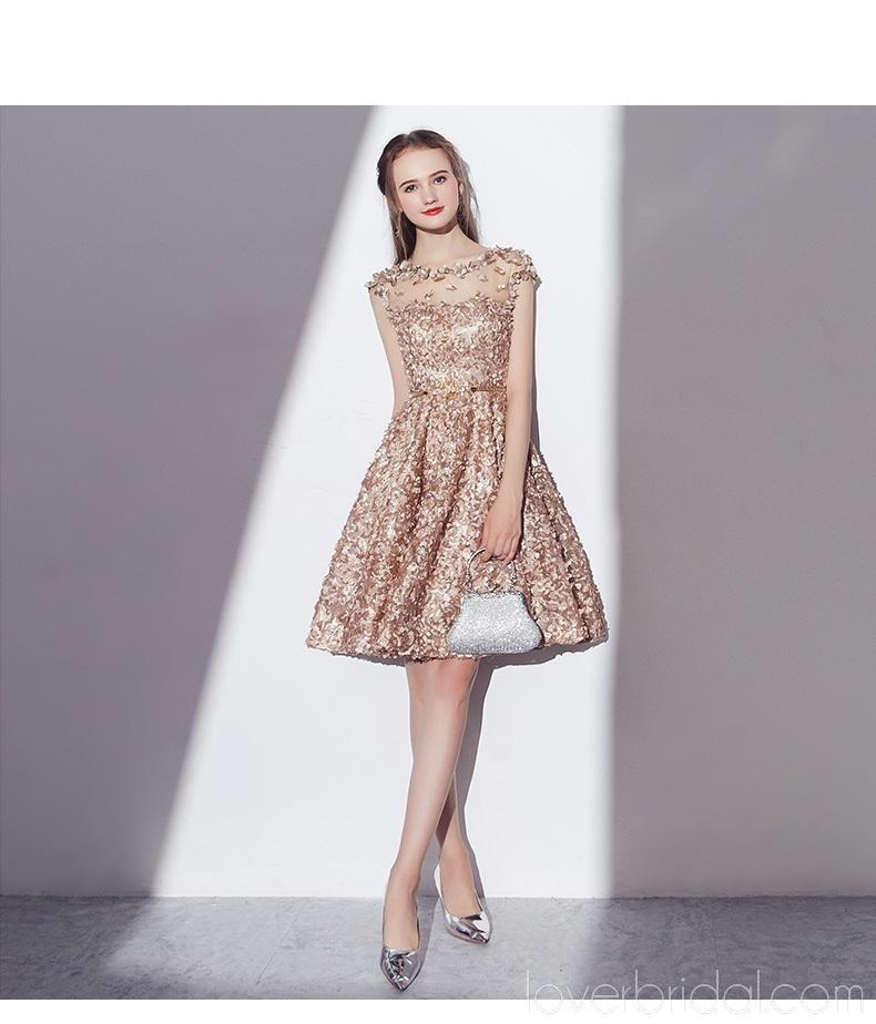 Cap Sleeves See Through Gold Lace Cheap Homecoming Dresses Online, Cheap Short Prom Dresses, CM789