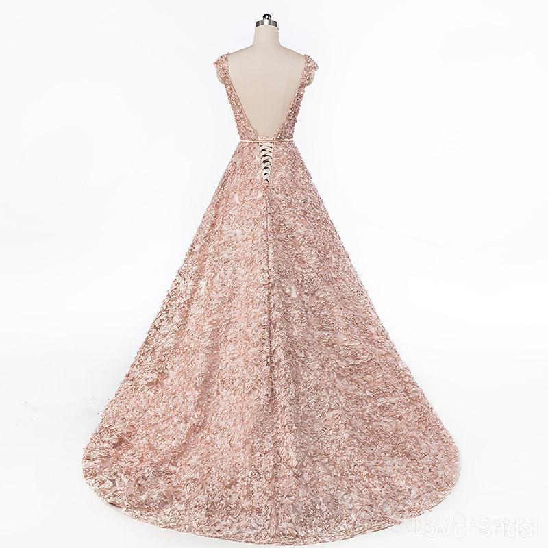Cap Sleeves Soop Rose Gold Lace Long Evening Prom Dresses, Cheap Party Prom Dresses, 18612