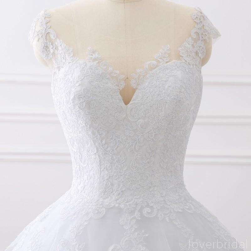 Cap Sleeves White Scoop Lace Wedding Dresses Online, Cheap Bridal Dresses, WD509