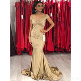 Champagne Gold Off Shoulder Mermaid Sexy Cheap Bridesmaid Dresses Online, WG568