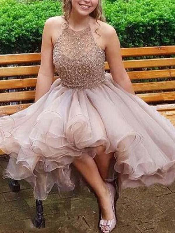 Champagne High Low Halter Beaded Cheap Homecoming Dresses Online, CM713