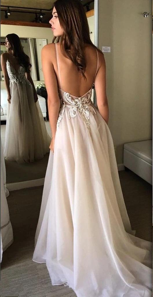 Champagne Spaghetti Straps Backless Cheap Wedding Dresses Online, Cheap Bridal Dresses, WD611