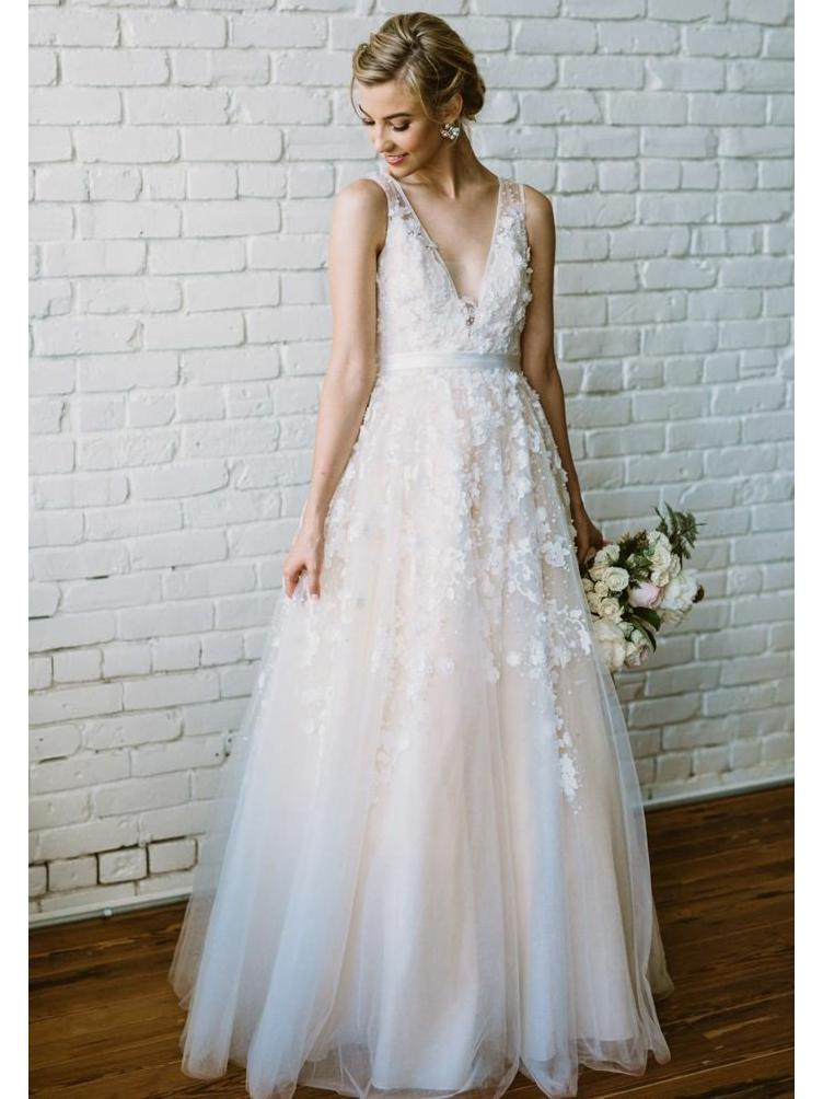 Champagne V Neck Cheap Wedding Dresses Online, Tulle A-line Bridal Dresses, WD436
