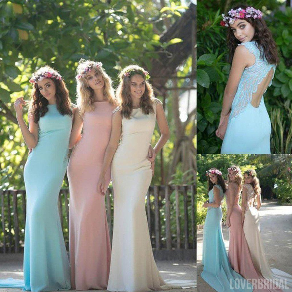 Charming Cheap Open Back Mermaid Junior Pretty Long Wedding Bridesmaid Dresses, WG314