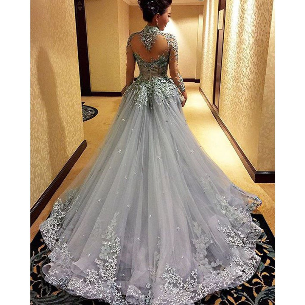 Charming High Neck Long Sleeve See Through Back Grey Affordable Long Prom Dress Gown, WG266