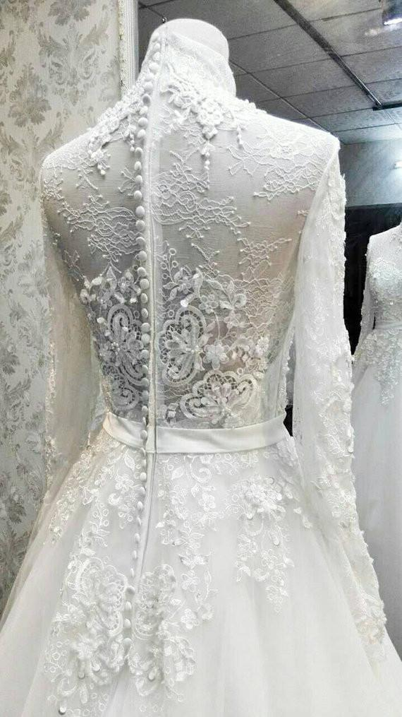 Charming High Neck Long Sleeves Lace Applique Luxury Long Wedding Bridal Ball Gown, WG630