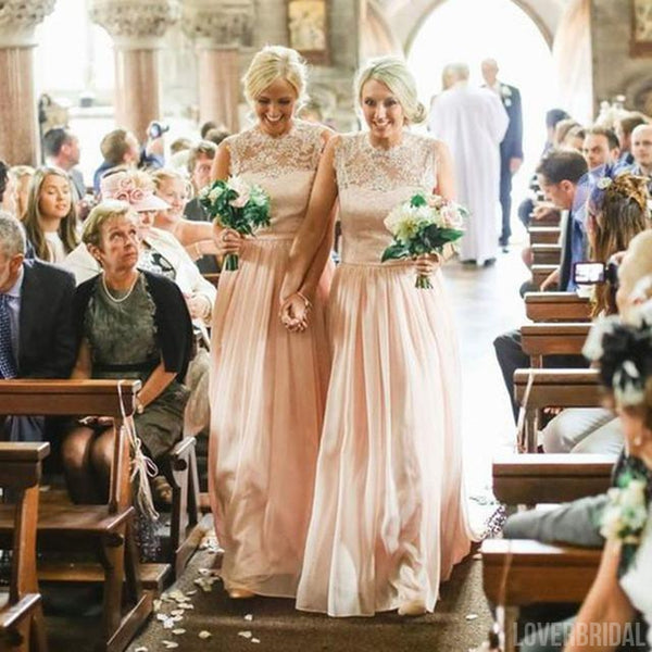 Charming Lace Top Blush Pink Chiffon Long Wedding Bridesmaid Dresses, WG348