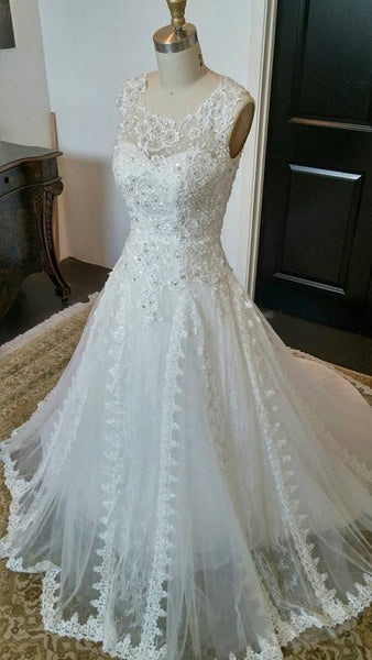 Charming Romantic Lace Beaded Lauxury Affordable Long Wedding Dresses, WG622