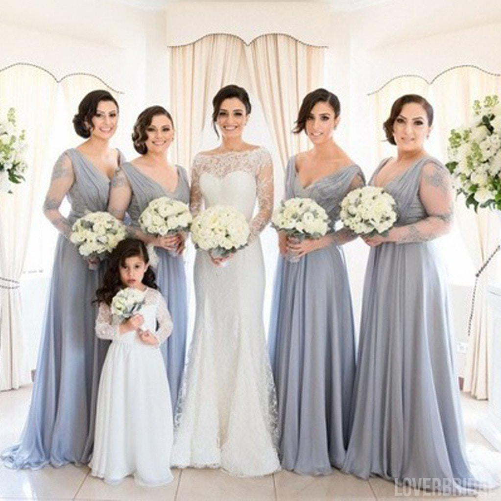 Charming See Through Long Sleeves V Neck Cheap Long Wedding Party Bridesmaid Dresses, WG309