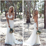 Charming Sweetheart Long Mermaid Lace Wedding Dresses, Sexy Backless Tulle Bridal Gown, WD0120