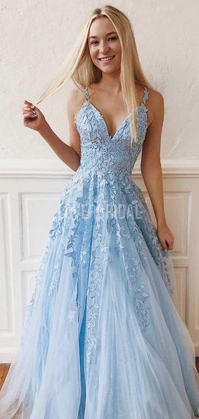 Cheap Blue Lace A-line Long Evening Prom Dresses, Evening Party Prom Dresses, 12228