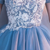 Cheap Blue Off Shoulder Lace Cute Homecoming Dresses, CM446