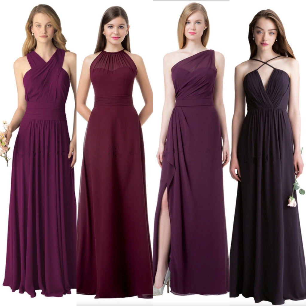 Cheap Chiffon Mismatched Custom Long Bridesmaid Dresses, Affordable Unique Custom Long Bridesmaid Dresses, Affordable Bridesmaid Gowns, BD113