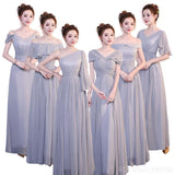 Cheap Grey Floor Length Mismatched Chiffon Bridesmaid Dresses Online, WG540