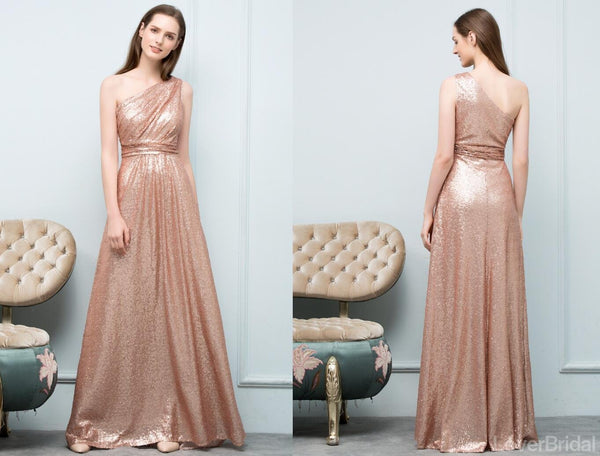 Cheap Sparkly Floor Length Mismatched Gold Sequin Bridesmaid Dresses Online, WG545