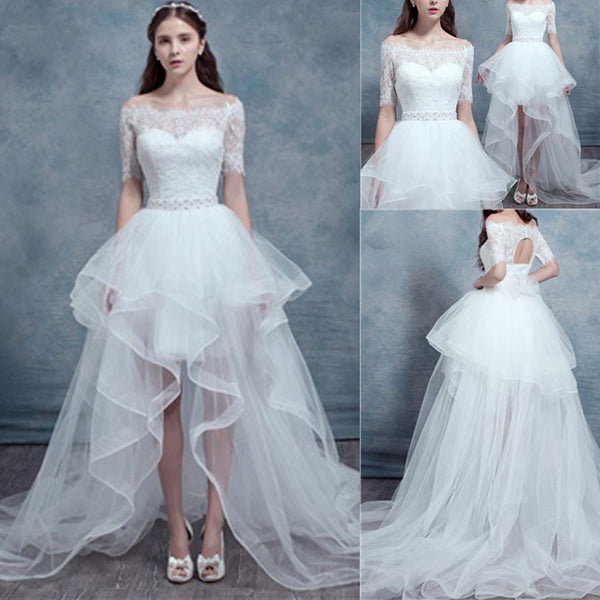 Chic Design Hi-low Straight Neck Short Sleeve White Lace Organza Wedding Dresses, WD164