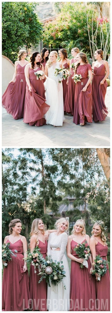 Chiffon Dusty Rose Floor Length Cheap Bridesmaid Dresses Online, WG564