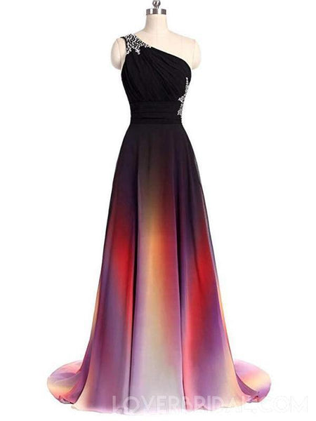 Chiffon One Shoulder Ombre Cheap Long Evening Prom Dresses,  Custom Sweet16 Dresses, 18394
