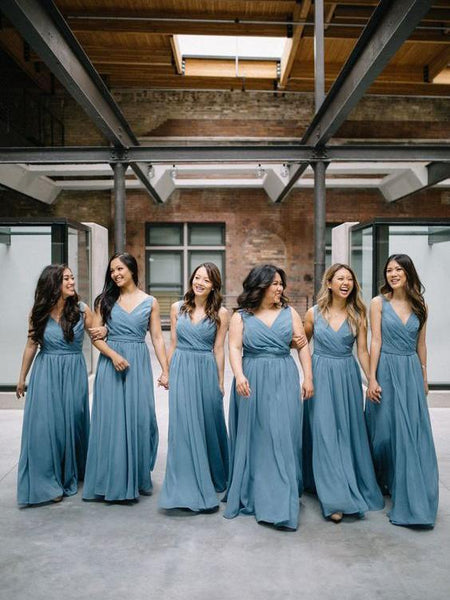 Chiffon V Neck Dusty Blue Long Cheap Bridesmaid Dresses Online, WG251