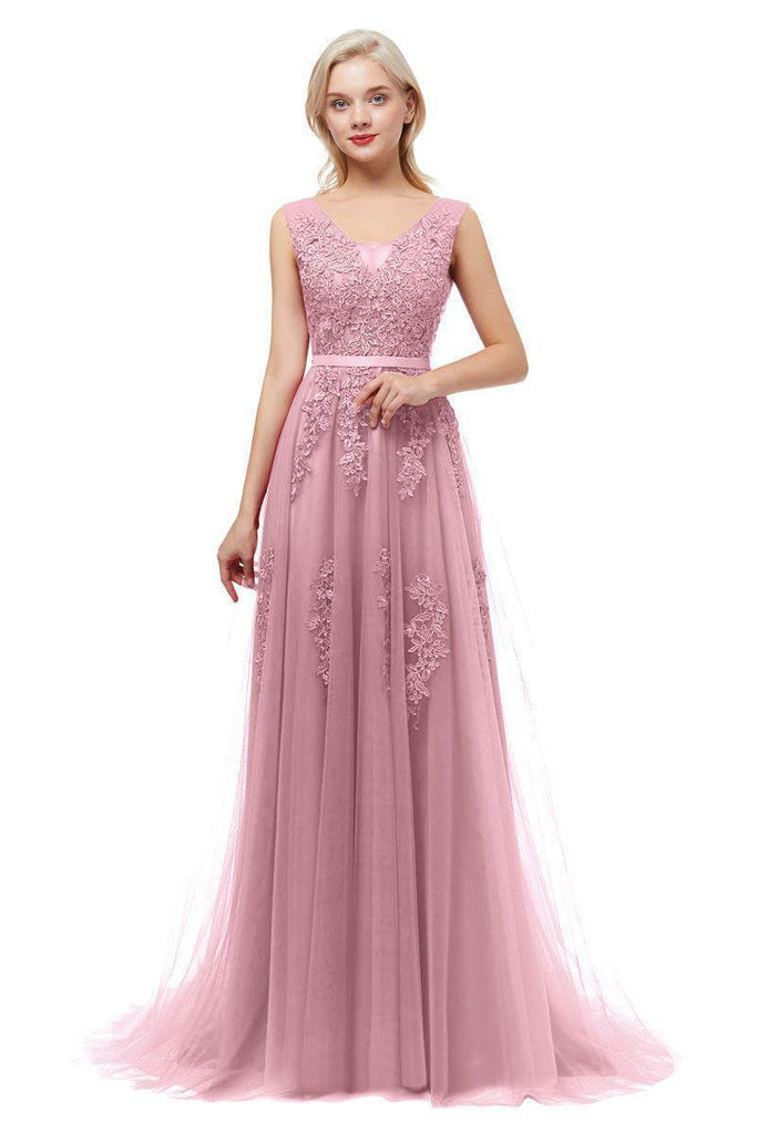 Classic V Neck Lace Long Cheap Evening Prom Dresses, Evening Party Prom Dresses, 12323