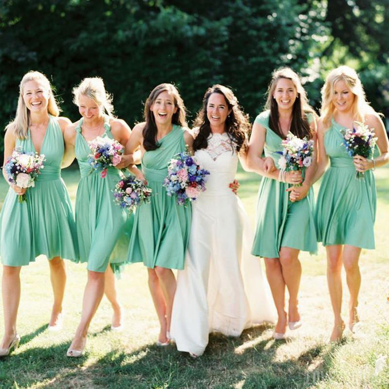 Convertible Short Jersey Green Cheap Wedding Bridesmaid Dresses, WG336