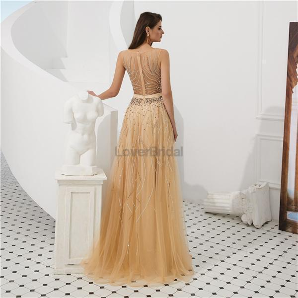 Cowl See Through Gold Beaded A-line Evening Prom Dresses, Evening Party Prom Dresses, 12093
