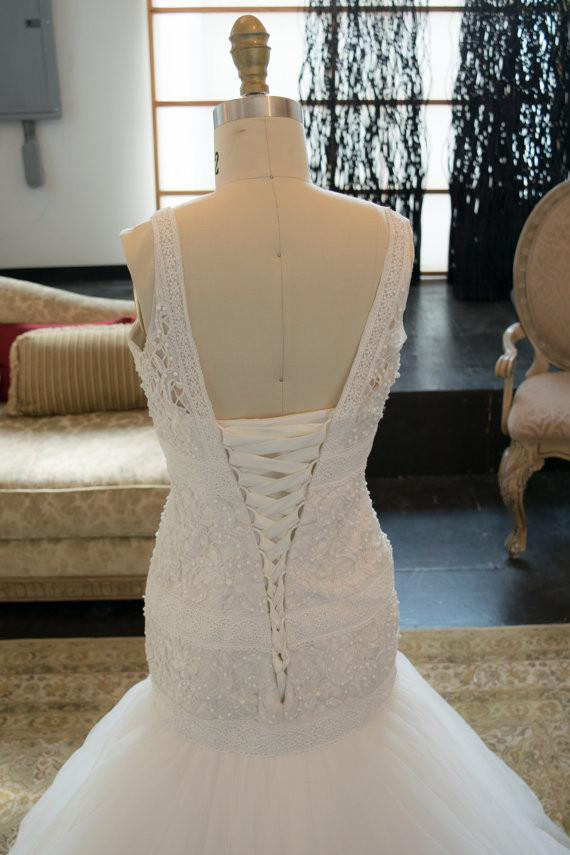 Crochet Pattern V Neck Beaded Trumpet Dramatic Lace Wedding Dress, WG641