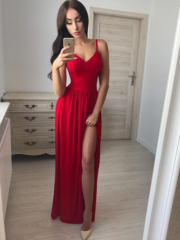 Custom Simple Sexy Red Side Slit Long Evening Prom Dresses, 17690