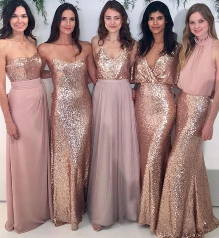 Custom Sparkly Mismatched Sequin Long Bridesmaid Dresses, Cheap Rose Gold Custom Long Bridesmaid Dresses, Affordable Bridesmaid Gowns, BD103