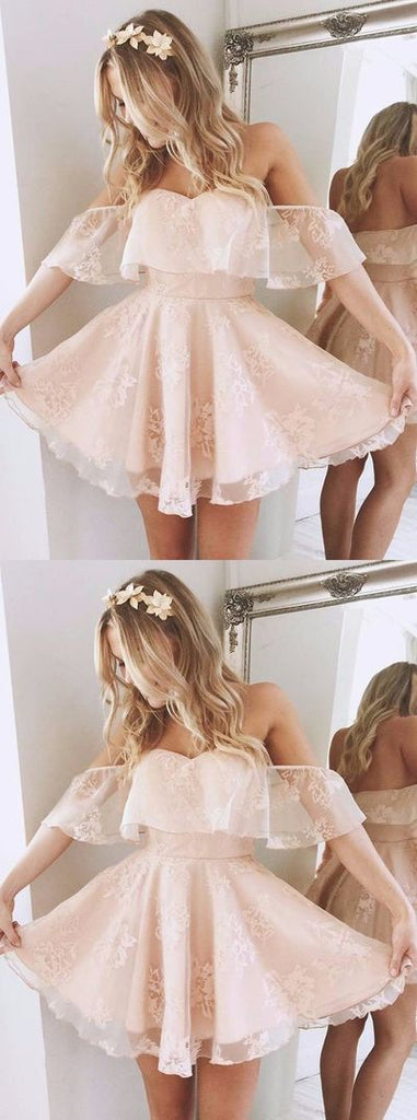 Cute Off Shoulder Lace Short Homecoming Dresses Online, CM540