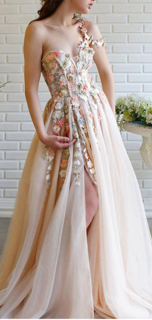 Cute One Shoulder Lace Flower Long Cheap Evening Prom Dresses, Evening Party Prom Dresses, 12351