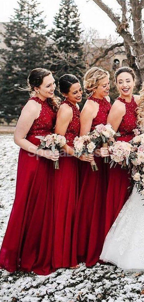 Dark Red Halter  Chiffon Long Bridesmaid Dresses Online, Cheap Bridesmaids Dresses, WG693