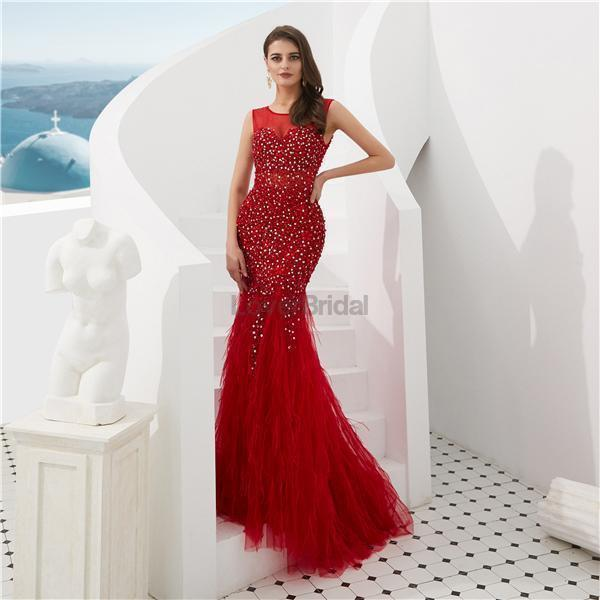 Dark Red Heavily Beaded Feather Mermaid Evening Prom Dresses, Evening Party Prom Dresses, 12098