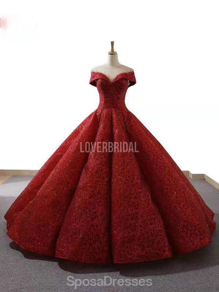 Dark Red Jewel Off Shoulder Ball Gown Long Evening Prom Dresses, Evening Party Prom Dresses, 12213