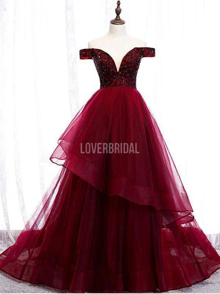 Dark Red Off Shoulder Ruffle Long Evening Prom Dresses, Evening Party Prom Dresses, 12217
