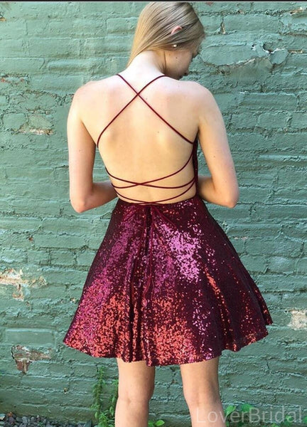 Dark Red Sequin Short Homecoming Dresses Online, Cheap Short Prom Dresses, CM844